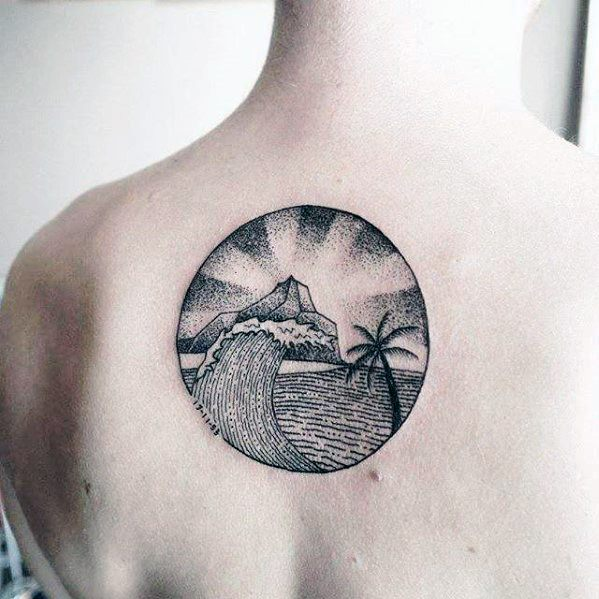 Circular Simple Wave With Island And Palm Tree Mens Back Tattoo