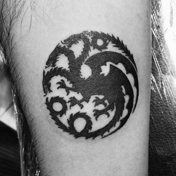 Circular Three Headed Dragon Mens Small Arm Tattoo