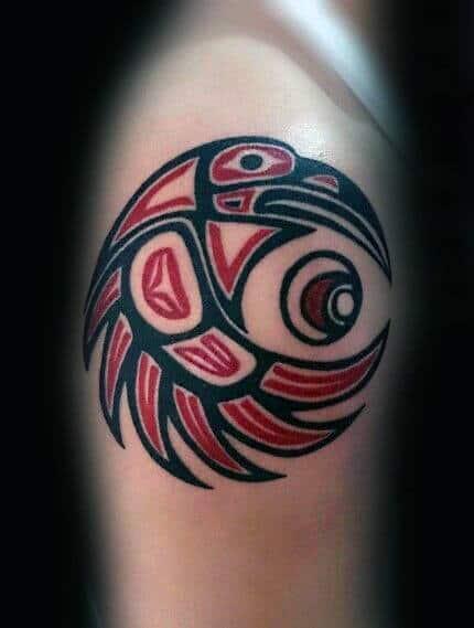 Circular Tribal Bird Mens Arm Haida Tattoos