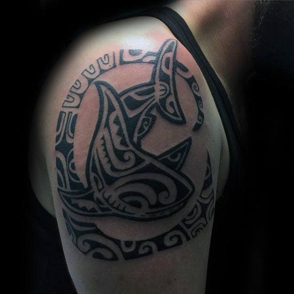Circular Tribal Shark Male Upper Arm Black Ink Tattoos