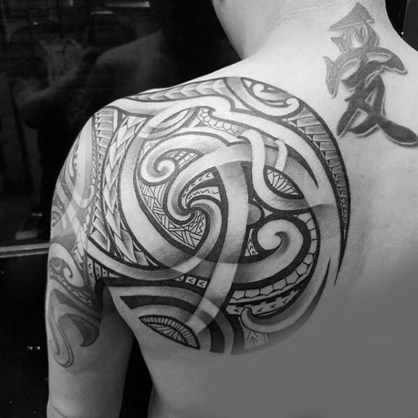 Circular Tribal Shoulder Mens Tattoos With Hawaiian Design