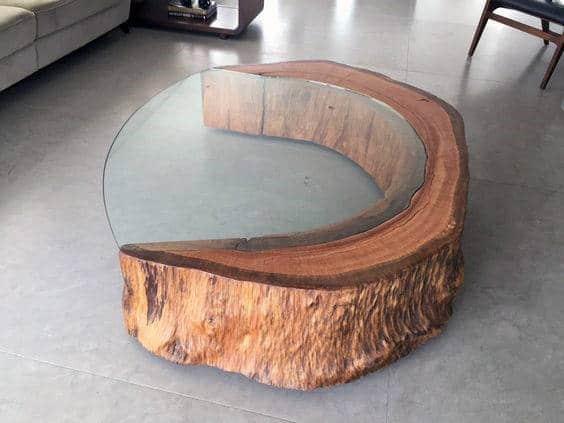 Circular Wood Cofee Table Man Cave Decor