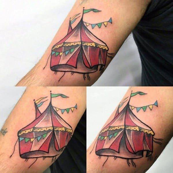 Circus Tent Guys Tattoo Designs On Arm