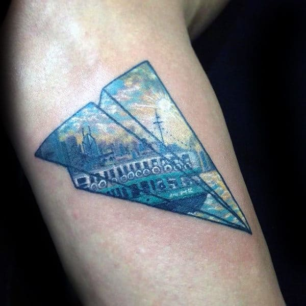 City Landscape Guys Paper Airplane Arm Tattoo Designs