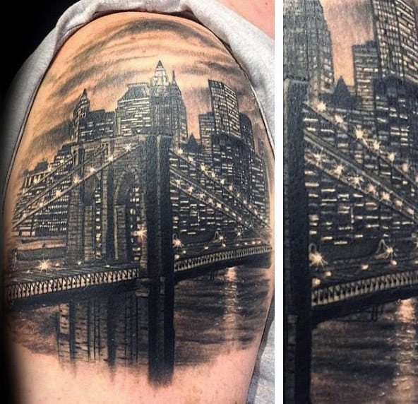 City Lights Mens Brooklyn Bridge Quarter Sleeve Tattoos