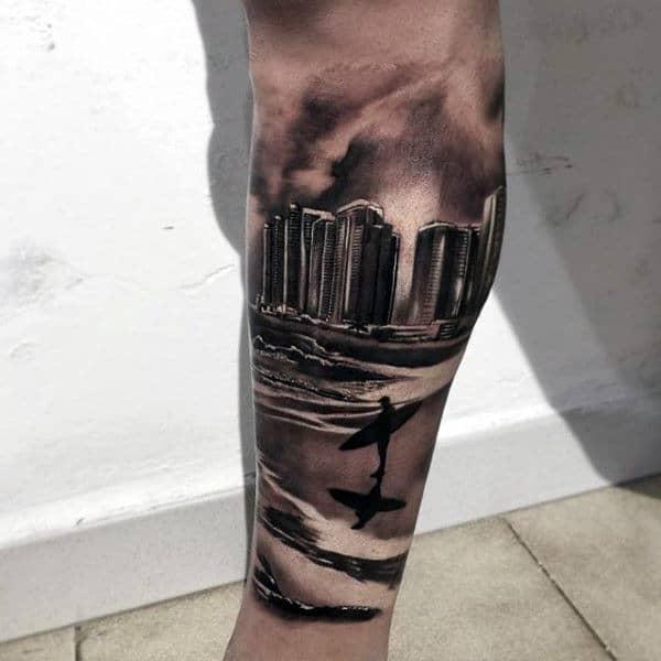 City Sky Line And Surf Tattoo Male Forearms