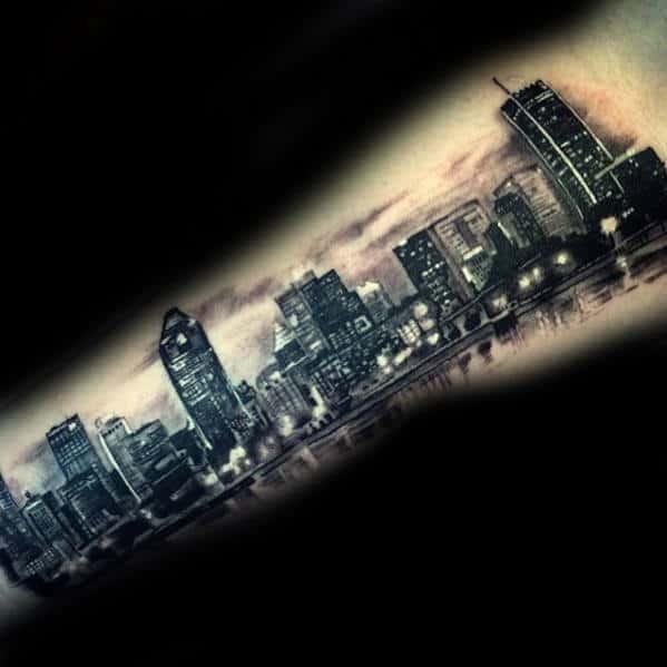 City Skyline At Night Mens Arm Tattoos