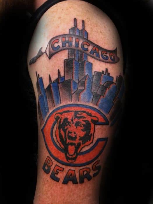 City Skyline Cool Chicago Bears Tattoo Design Ideas For Male On Arm