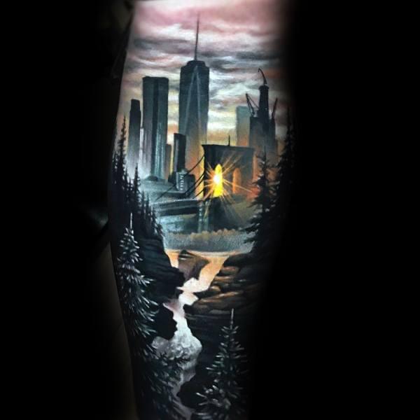 City Skyline Coolest Mens Leg Sleeve Tattoos
