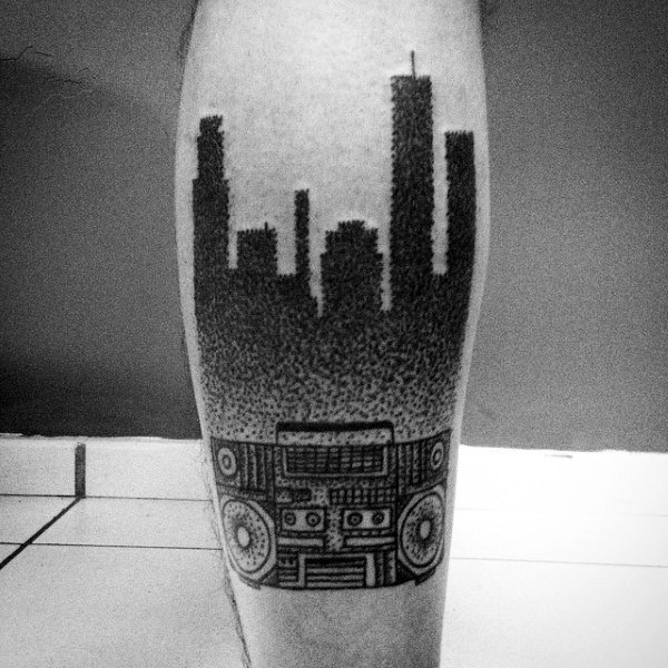 City Skyline Dotwork Male Boombox Tattoo On Back Of Leg
