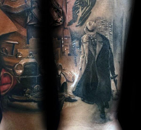 City Skyline Gangster Mens Forearm Tattoos