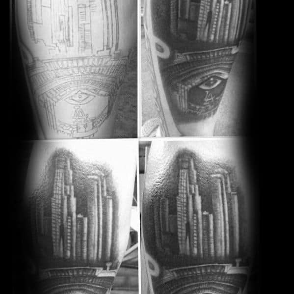 City Skyline Los Angeles Dodgers Tattoo Designs For Guys