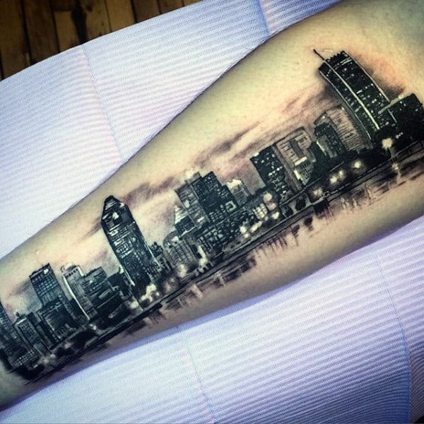 City Skyline Mens Building Inner Forearm Tattoo