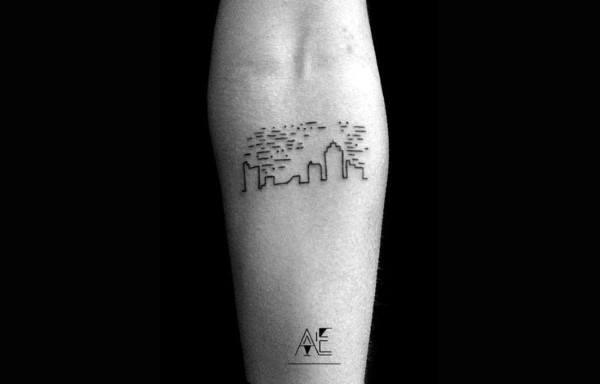 City Skyline Minimalist Inner Forearm Male Tattoo Design Inspiration Ideas
