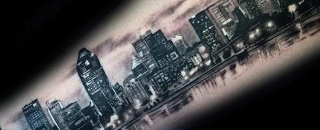70 City Skyline Tattoo Designs For Men – Downtown Ink Ideas