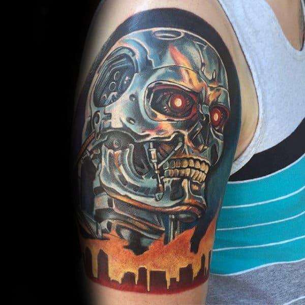 3f2b992b3 Bicep Male Terminator Tattoo Ideas. City Skyline Terminator Mens Half  Sleeve Tattoos