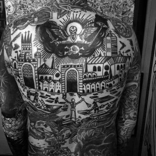 Traditional Black And Grey Tattoo: 50 Traditional Back Tattoo Design Ideas For Men