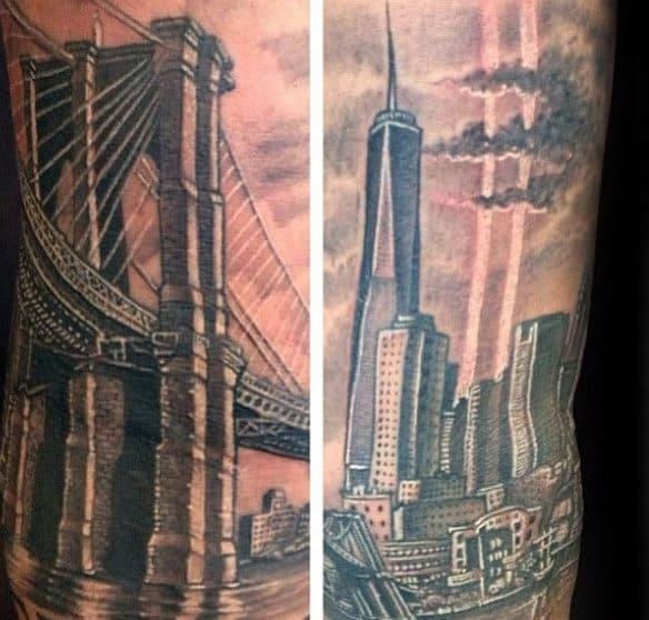Tattoo Ideas New York: 60 Brooklyn Bridge Tattoos For Men