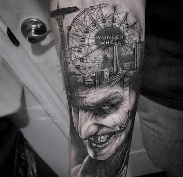 City Skyline With Joker Mens Inner Forearm Tattoos