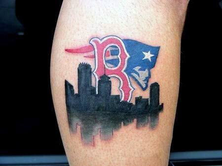 City Skyline With New England Patriots Logo Mens Leg Tattoo Design Ideas