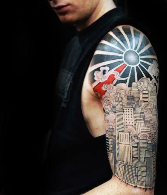 City Skyline With Rising Sun Mens Half Sleeve Tattoos