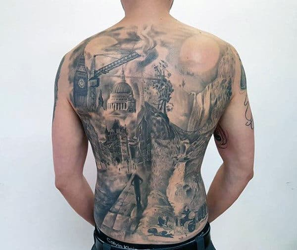 City Skyline With Waterfall Crazy Mens Back Tattoos