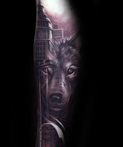 City Skyline With Wolf Mens Realistic Forearm Tattoo Design Ideas
