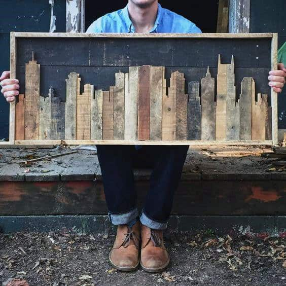 City Skyline Wood Bachelor Pad Wall Art Ideas For Guys