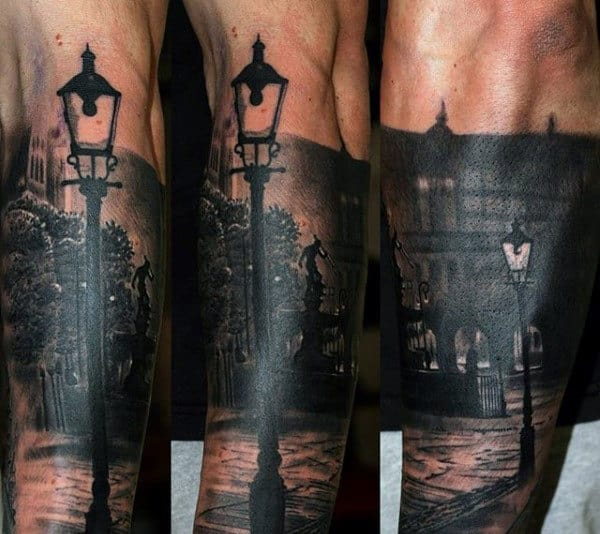 City Street At Night Mens Realistic Forearm Sleeve Tattoo