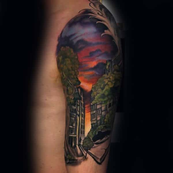 City Street Half Sleeve Mens Sky Tattoo Design Ideas