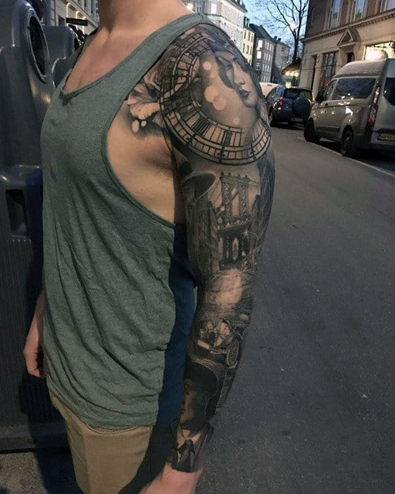 City Street Hyper Realistic Shaded Mens Sleeve Tattoo