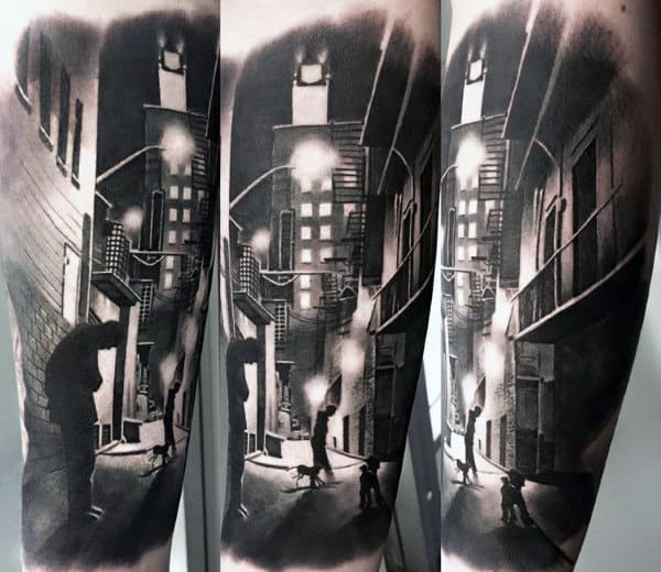 City Street Mens Building Forearm Sleeve Tattoo Ideas