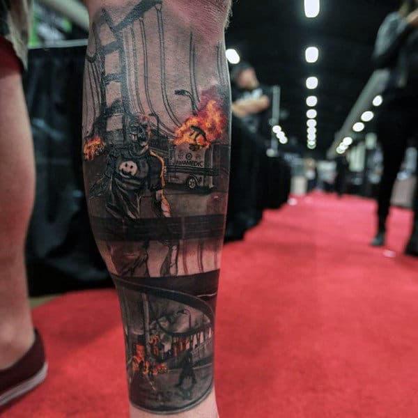 City Under Zombie Apocalypse Leg Sleeve Tattoo For Guys