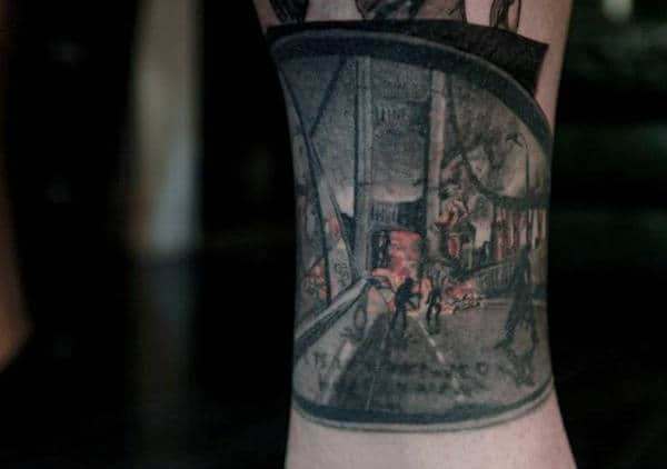 City Withzombie Epidemic Read View Mirror Tattoo On Man