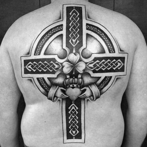Claddagh Cross Guys Full Back Tattoo Designs