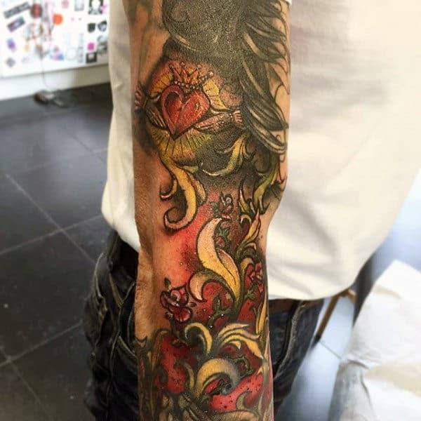 Claddagh Sleeve Tattoos For Guys