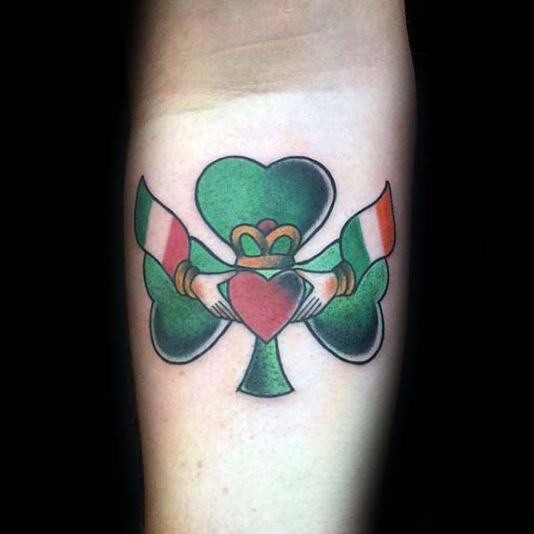 Claddagh With Clover Inner Forearm Irish Tattoos For Gentlemen