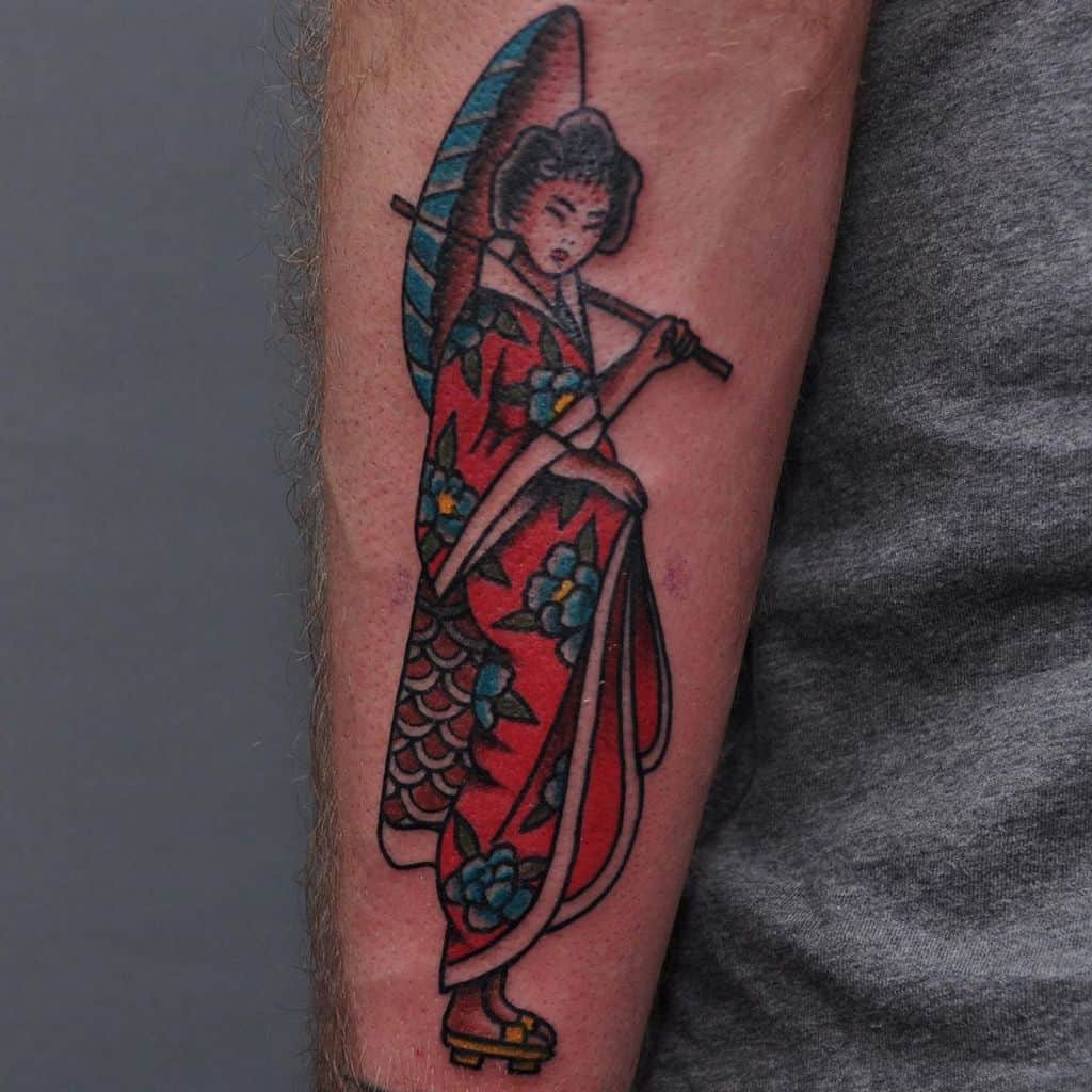 Classic Bright And Bold Montpellier Geisha Tattoo