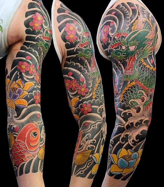 Classic Cherry Blossom Male Japanese Themed Sleeve Tattoo