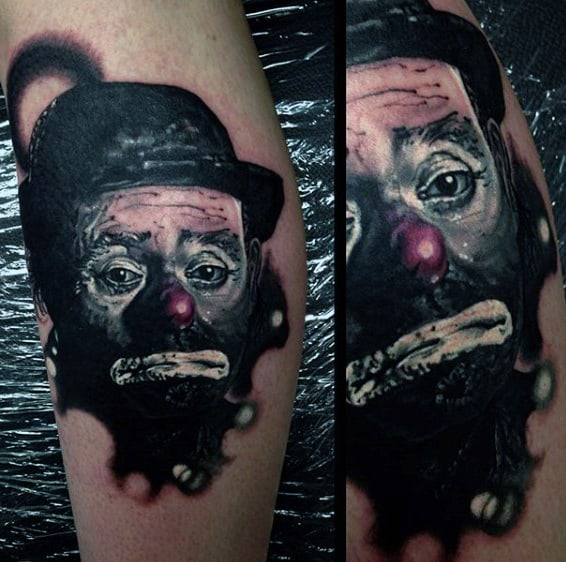 Classic Clown Portrait Guys Leg Tattoo Designs