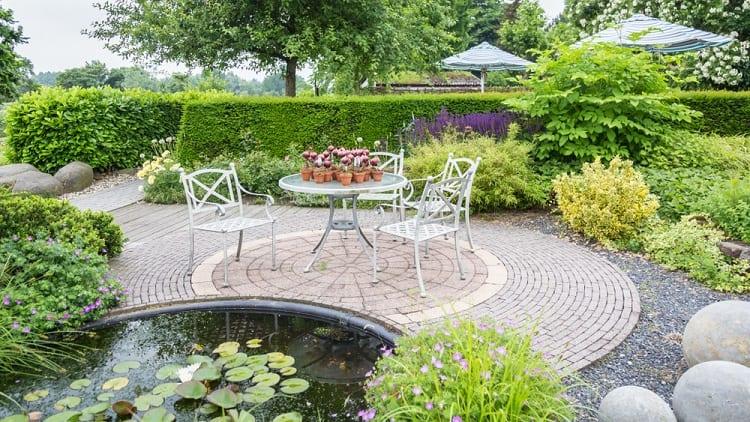 Classic Garden Backyard Pond Sitting Area