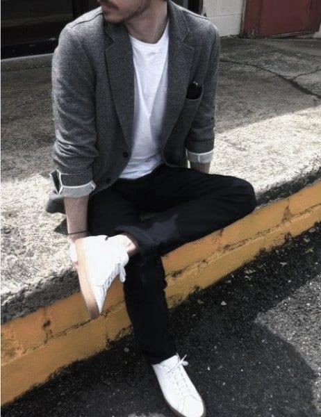 Classic Guys Casual Wear Styles T Shirt With Grey Blazer Jacket