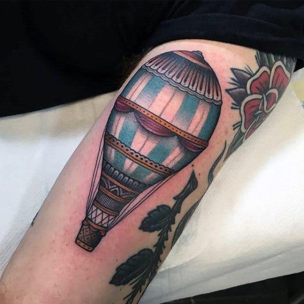 Classic Hot Air Balloon Mens Arm Tattoos