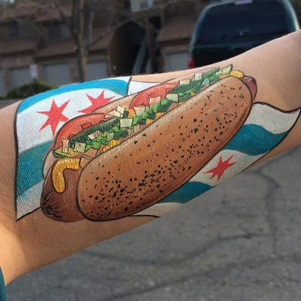 Classic Hot Dog With Chicago Flag Mens Forearm Tattoos