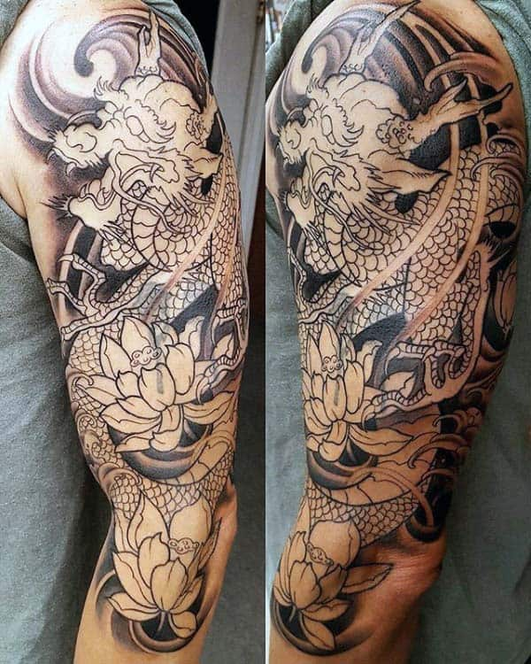 Classic Japanese Dragon Mens Half Sleeve Tattoo Inspiration