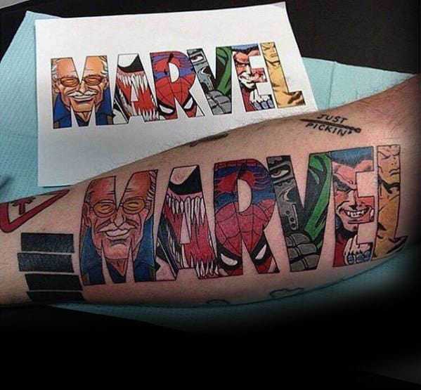 Classic Marvel Logo With Superheros Mens Leg Tattoo