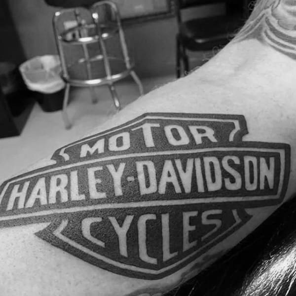 Classic Mens Black Ink Tattoos Harley Davidson Logo