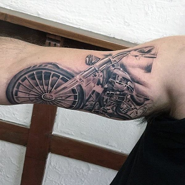 Classic Mens Harley Davidson Motorcycle Bicep Tattoos