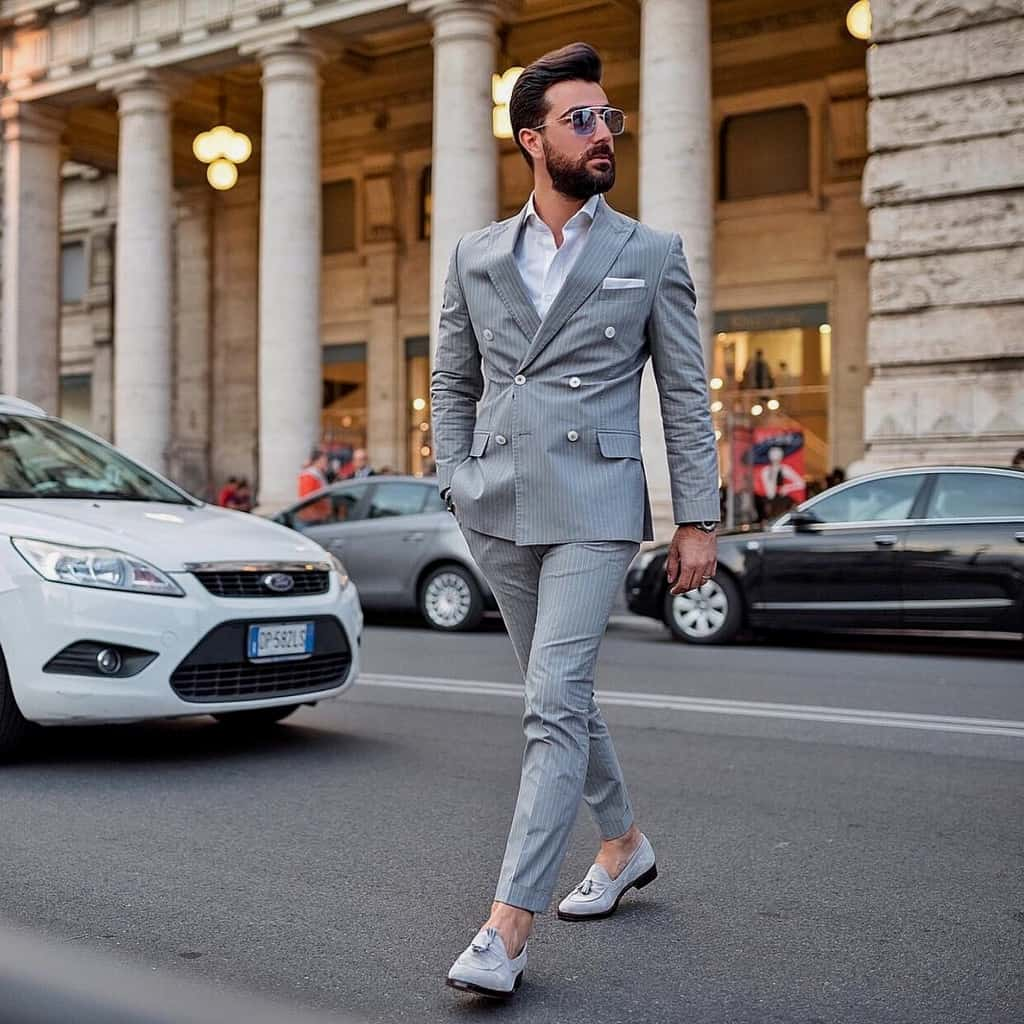 Classic Mens Wear Gray Stripe Suit