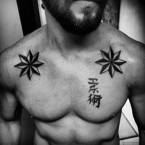 Classic Nautical Star Mens Upper Chest Tattoos